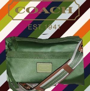 Coach Kelly green satin finish mini bag